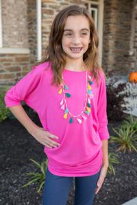Kids Dolman Knit Top - Hot Pink
