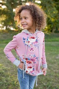 Kids Floral Print Hoodie - Mauve