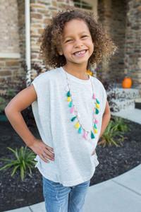 Kids Ruffle Detail Top - Heather White