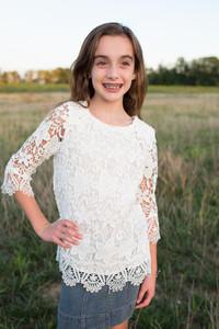 Kids Crochet Overlay Top - White