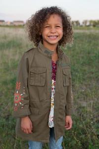 Kids Embroidered Cargo Jacket - Olive