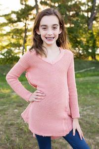 Kids Shoulder Detail Sweater - Papaya
