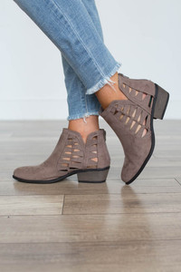 Cutout Ankle Booties - Taupe