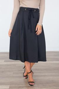 Drawstring Satin Midi Skirt - Black