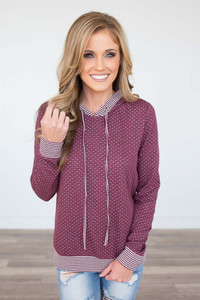 Mixed Print Hooded Sweatshirt - Burgundy