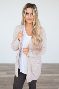 Cable Knit Pocket Cardigan - Light Pink