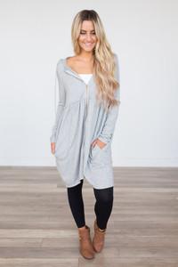 Hooded Zip Up Sweater Tunic - Heather Grey