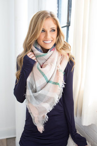 Plaid Blanket Scarf - Pink/Green/Grey