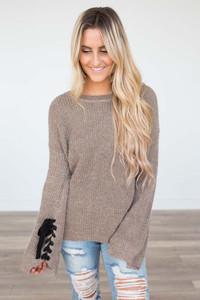 Tie Sleeve Sweater - Mocha