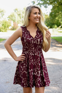 Floral Lace Fit & Flare Dress - Wine