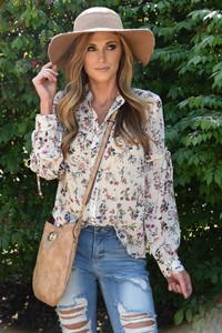 Floral Print Button Down Blouse – Cream
