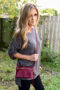 Faux Leather 3 in 1 Handbag - Burgundy