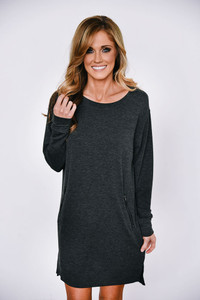Zipper Detail Tunic Dress - Heather Charcoal
