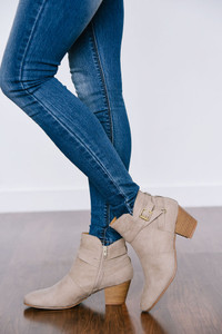 Under Wraps Buckle Booties - Beige