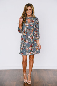 Floral Button Peplum Dress - Grey