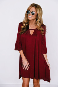 Solid Knit Keyhole Dress - Burgundy