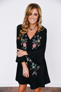 Floral Embroidered Suede Dress - Black