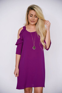 Ruffle Drop Shoulder Dress - Berry Magenta