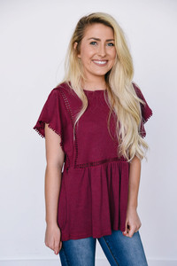 Ribbed Flutter Sleeve Top - Berry Kiss