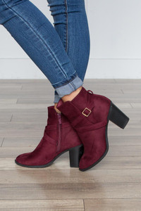 Faux Suede Ankle Wrap Booties - Wine