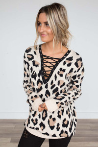 Leopard Lace Up Sweater - Beige
