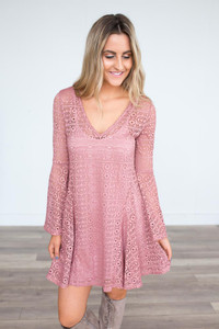 Cutout Bell Sleeve Dress - Wild Rose