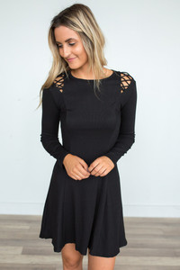 Shoulder Detail Flare Dress - Black