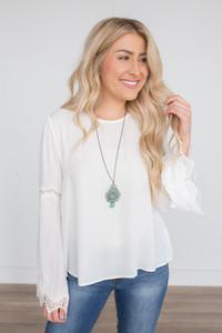 Scalloped Crochet Detail Blouse - White