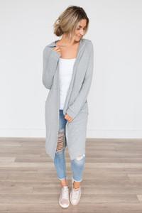 Hooded Midi Cardigan - Heather Grey