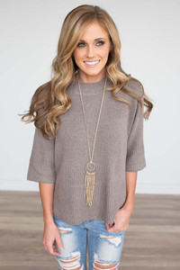 Mock Neck Zipper Back Sweater - Taupe