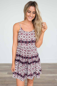Printed Tiered Dress - Berry Multi