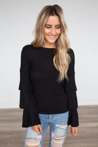 Ruffle Sleeve Ribbed Sweater - Black