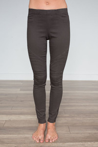 Zipper Detail Moto Stitch Leggings - Espresso