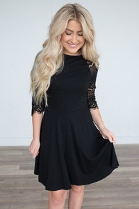 Lace Contrast Skater Dress - Black