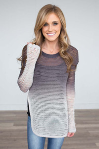 Ombre Open Knit Sweater - Grey