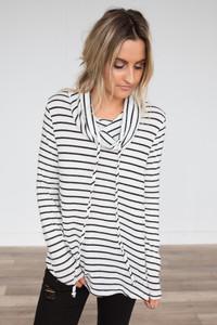 Striped Cowl Neck Sweater - Black/White