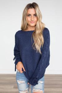 Shoulder Detail Boatneck Sweater - Navy
