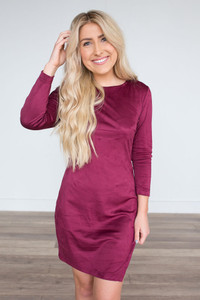 BB Dakota Jen Suede Dress - Burgundy
