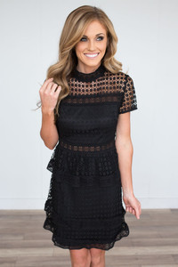 Mock Neck Tiered Crochet Dress - Black