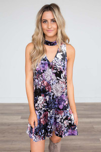 Floral Velvet Choker Dress - Black Multi