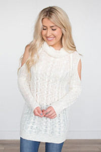 Cold Shoulder Cable Sweater - Ivory