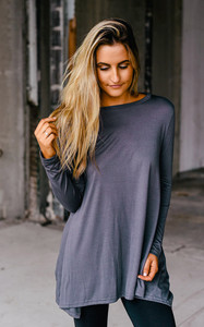 Solid Knit High Low Tunic - Charcoal