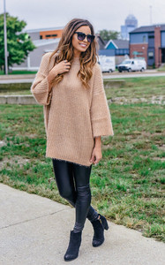 Mock Neck Fuzzy Sweater - Gold