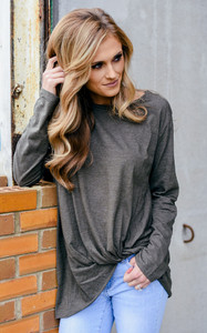 Long Sleeve Twisted Knot Tee - Olive