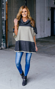 Colorblock Turtleneck Poncho - Grey/Taupe