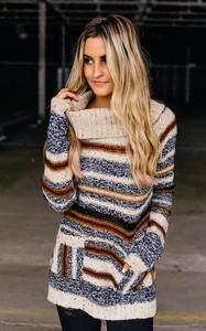 Striped Turtleneck Confetti Sweater - Beige Multi