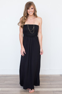 Solid Strapless Maxi Dress - Black