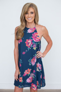 Bloom Where You Are Planted Shift Dress - Navy