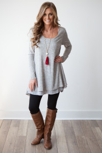 Long Sleeve Layered Flare Tunic - Heather Grey