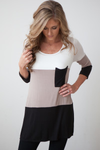 3/4 Sleeve Colorblock Pocket Tunic - Mocha/Black